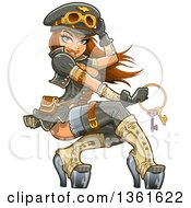 Sexy Brunette Steampunk Airship Aviator Captain Woman Holding A Key Ring