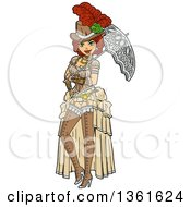Clipart Of A Sexy Red Haired Steampunk Society Woman Posing With A Parasol Royalty Free Vector Illustration
