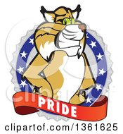 Clipart Of A Bobcat School Mascot Character On A Pride Badge Royalty Free Vector Illustration by Toons4Biz