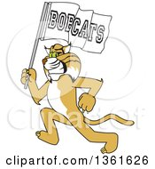 Clipart Of A Bobcat School Mascot Character Running With A Team Flag Symbolizing Pride Royalty Free Vector Illustration