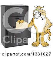 Clipart Of A Bobcat School Mascot Character Filing Folders Symbolizing Organization Royalty Free Vector Illustration