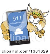 Clipart Of A Bobcat School Mascot Character Holding Up A Smart Phone With An Emergency Screen Symbolizing Safety Royalty Free Vector Illustration by Toons4Biz