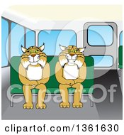 Clipart Of Bobcat School Mascot Characters Sitting On A Bus Seat Symbolizing Safety Royalty Free Vector Illustration