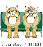 Clipart Of Bobcat School Mascot Characters Sitting On A Seat Symbolizing Safety Royalty Free Vector Illustration