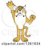 Clipart Of A Bobcat School Mascot Character Holding Up A Hand Symbolizing Responsibility Royalty Free Vector Illustration