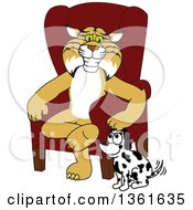 Bobcat School Mascot Character Sitting by a Dog, Symbolizing Responsibility