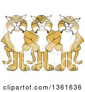 Bobcat School Mascot Characters Standing with Linked Arms, Symbolizing Loyalty