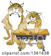 Clipart Of A Compassionate Bobcat School Mascot Character Standing By A Worried Student Royalty Free Vector Illustration