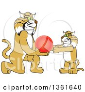 Clipart Of A Bobcat School Mascot Character Giving A Ball To A Cub Symbolizing Compassion Royalty Free Vector Illustration