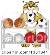 Clipart Of A Bobcat School Mascot Character Putting A Soccer Ball Back On A Rack Symbolizing Respect Royalty Free Vector Illustration