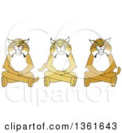 Clipart Of Bobcat School Mascot Characters Sitting On The Floor Symbolizing Respect Royalty Free Vector Illustration