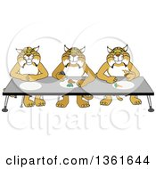 Clipart Of Bobcat School Mascot Characters Eating Together Symbolizing Respect Royalty Free Vector Illustration