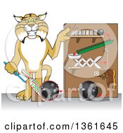 Clipart Of A Bobcat School Mascot Character Showing A Toothpaste Dispenser Invention Symbolizing Being Resourceful Royalty Free Vector Illustration