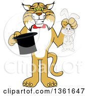 Clipart Of A Bobcat School Mascot Character Holding A Rabbit And A Magic Hat Symbolizing Being Resourceful Royalty Free Vector Illustration