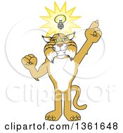 Clipart Of A Bobcat School Mascot Character With An Idea Symbolizing Being Resourceful Royalty Free Vector Illustration by Toons4Biz
