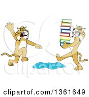 Clipart Of A Bobcat School Mascot Character Warning Another That Is Carrying A Stack Of Books About A Puddle Symbolizing Being Proactive Royalty Free Vector Illustration