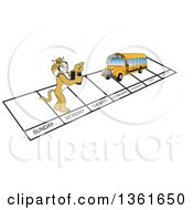 Clipart Of A Bobcat School Mascot Character And Bus Over Week Days Symbolizing Being Proactive Royalty Free Vector Illustration
