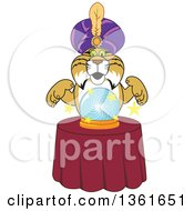 Clipart Of A Bobcat School Mascot Character Gypsy Looking Into A Crystal Ball Symbolizing Being Proactive Royalty Free Vector Illustration by Toons4Biz