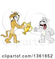 Clipart Of A Bobcat School Mascot Character Giving A First Place Trophy To A Bulldog Symbolizing Teamwork And Sportsmanship Royalty Free Vector Illustration by Toons4Biz