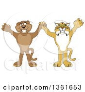 Bobcat And Cougar School Mascot Characters Holding Hands And Cheering Symbolizing Teamwork And Sportsmanship