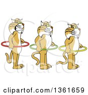 Clipart Of Bobcat School Mascot Characters Holding Hoops And Standing In Line Symbolizing Respect Of Personal Space Royalty Free Vector Illustration by Toons4Biz