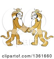 Clipart Of A Bobcat School Mascot Character Shaking Hands With A Friend Symbolizing Gratitude Royalty Free Vector Illustration