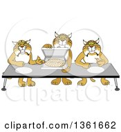 Clipart Of Bobcat School Mascot Characters Offering Pizza Symbolizing Gratitude Royalty Free Vector Illustration