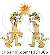 Bobcat School Mascot Characters High Fiving Symbolizing Pride