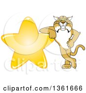 Bobcat School Mascot Character Leaning Against A Gold Star Symbolizing Excellence