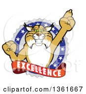 Clipart Of A Bobcat School Mascot Character Holding Up A Finger In An Excellence Badge Royalty Free Vector Illustration by Toons4Biz