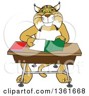 Clipart Of A Bobcat School Mascot Character Organizing And Doing Homework Royalty Free Vector Illustration