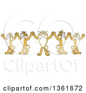 Clipart Of A Team Of Bobcat School Mascot Characters Holding Hands Symbolizing Leadership Royalty Free Vector Illustration
