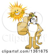 Clipart Of A Bobcat School Mascot Character And Sun Holding Thumbs Up Symbolizing Excellence Royalty Free Vector Illustration by Toons4Biz
