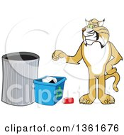 Clipart Of A Bobcat School Mascot Character Recycling Symbolizing Integrity Royalty Free Vector Illustration