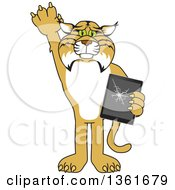 Clipart Of A Bobcat School Mascot Character Confessing To Breaking A Tablet Symbolizing Integrity Royalty Free Vector Illustration