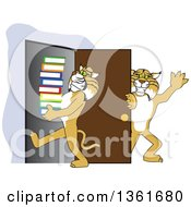 Clipart Of A Bobcat School Mascot Character Holding A Door For Another Carrying Books Symbolizing Compassion Royalty Free Vector Illustration