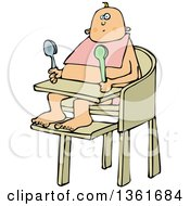 Clipart Of A Cartoon Caucasian Baby Sitting In A High Chair And Holding Spoons Royalty Free Vector Illustration by Dennis Cox