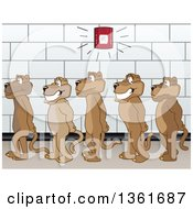 Cougar School Mascot Characters In Line During A Fire Drill In A Hallway Symbolizing Safety by Toons4Biz