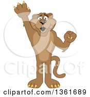 Clipart Of A Cougar School Mascot Character Raising A Hand To Volunteer Or Lead Symbolizing Responsibility Royalty Free Vector Illustration