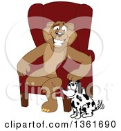 Cougar School Mascot Character Sitting By A Dog Symbolizing Responsibility by Toons4Biz