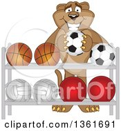 Cougar School Mascot Character Putting A Soccer Ball Back On A Rack Symbolizing Respect by Toons4Biz