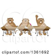 Clipart Of Cougar School Mascot Characters Sitting At Desks One Raising His Hand Symbolizing Respect Royalty Free Vector Illustration