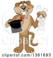Cougar School Mascot Character Magician Holding A Rabbit And Hat Symbolizing Being Resourceful by Toons4Biz