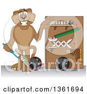 Cougar School Mascot Character Showing A Toothpaste Dispenser Invention Symbolizing Being Resourceful by Toons4Biz