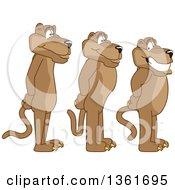 Clipart Of Cougar School Mascot Characters Standing In Line Symbolizing Respect Royalty Free Vector Illustration