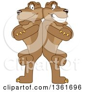 Clipart Of A Cougar School Mascot Character Standing Back To Back And Leaning On Each Other Symbolizing Loyalty Royalty Free Vector Illustration