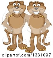 Clipart Of Cougar School Mascot Characters Standing And Embracing Symbolizing Loyalty Royalty Free Vector Illustration