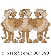 Cougar School Mascot Characters Standing With Linked Arms Symbolizing Loyalty