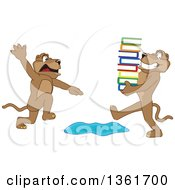 Clipart Of A Cougar School Mascot Character Warning Another That Is Carrying Books About A Puddle Symbolizing Being Proactive Royalty Free Vector Illustration