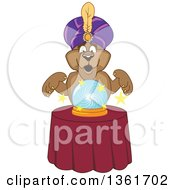 Cougar School Mascot Character Fortune Teller Looking Into A Crystal Ball Symbolizing Being Proactive